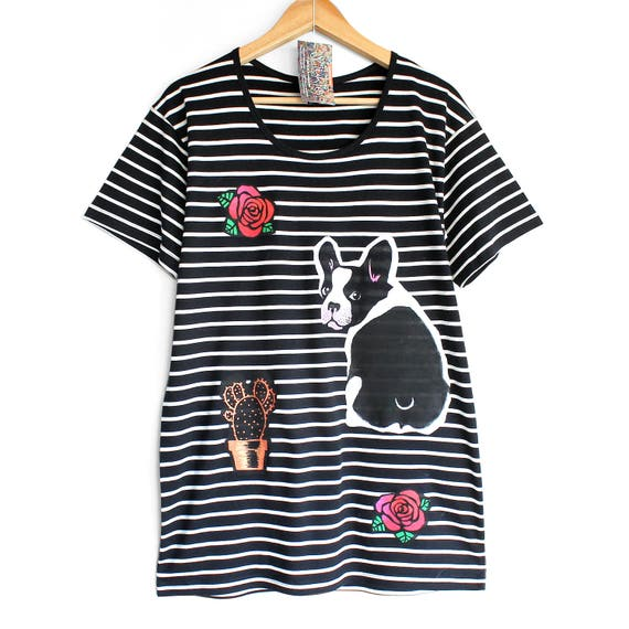 DOGS and ROSES t shirt. Black t-shirt with white stripes. Dog t shirt. French Bulldog t-shirt. Dog persons t shirt.