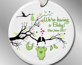 We're Having a Baby Christmas Ornament - We're Expecting Announcement - Baby News - Custom Christmas Ornament - I'm Pregnant #210
