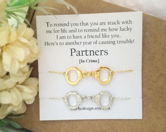 Best friend gift-Set of -2-Partners in crime bracelets,Handcuff bracelet,BFF,with Friendship Quote,Long Distance Friend,Christmas gift ideas