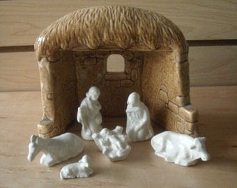 Christmas decoration Vintage Nativity set ceramic Christmas Nativity brown manger white Nativity Gifts for her Indian Christmas Decorations