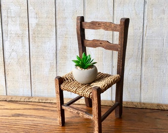 Vintage Wooden Doll Chair, Vintage  Miniature Wood and Woven Seat Chair