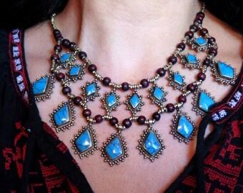 Vintage Style Turquoise Kuchi Tribal Necklace - Afghani Ethnic Boho Gypsy Statement Necklace