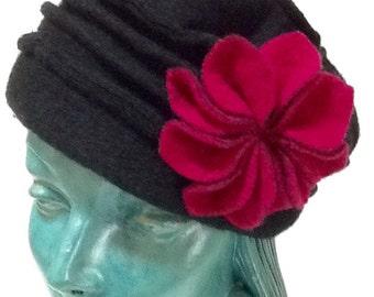 Vintage Flower Slouchy Hat / Black Wool / Platania of  Italy / Retro / Boho / Hippie / High Fashion