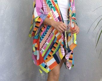 Boho Kimono Cardigan, African Print Kimono, Geometric Kimono, Oversize Cardigan, Summer Jacket, Beach Kimono, Beach CoverUp, Women Loose Top