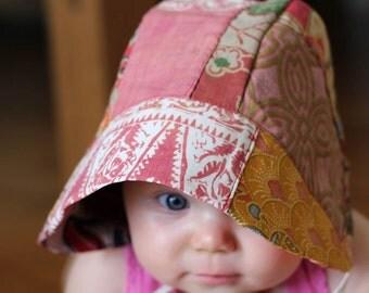 Baby Bonnet, vintage batik ROSE patchwork, beach, sun hat