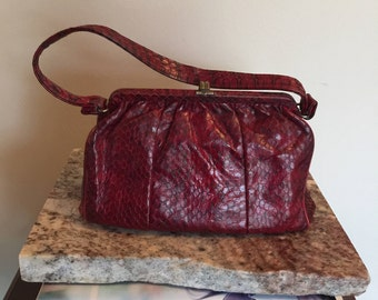 vintage purse, red purse, snakeskin purse, vintage satchel, handbag, red leather handbag, Mayer-Newman bag, maroon purse, retro handbag