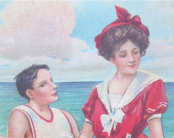 Original 1910's Love On the Beach Victorian Era Postcard - Free Shipping