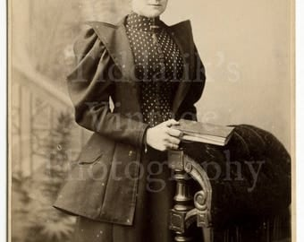Cabinet Card Photo Victorian Woman with Impressive Outfit Holding Book - W C Pearson of Huddersfield England