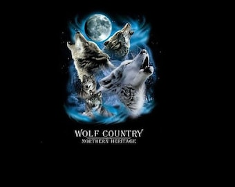 Wolf Shirt, Wolves Howling At The Moon T - Shirt, Wolf Sweatshirt, Wolf Fabric Print  Item no. 223a
