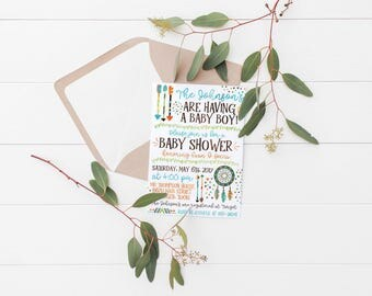 Printable Boho Baby Shower Party Invitation | Boho Invitation | Boho Baby Shower | Boho Birthday | Bohemian Party