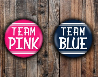 Team Pink and Team Blue gender reveal pins.  Pink and Navy Blue.