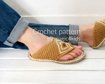 Crochet pattern - thong sandals with rope soles,slip ons,slippers,flip-flops,scuffs,soles pattern included,women,adult,girl,cord soles