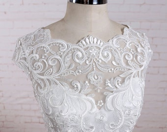 Custom Wedding Dress Ivory A Line Chiffon Vintage Lace Wedding Dress with Cap Sleeves