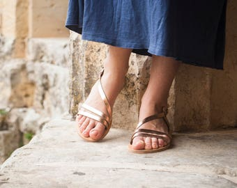 Bronze Greek sandals with ankle strap, handmade to order and available in 19 colors.