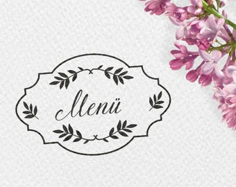 Stamp menu, wood stamp, 60x40mm, frames, leaves, branches, wedding, stamps, stamps of the menu, MENUST, HSMR1