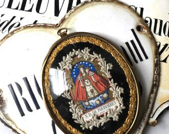 1800s antique French reliquary, antique French Virgin Mary and Infant Jesus