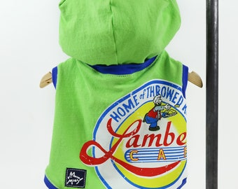 Green Blue Small Dog Upcycled Cafe Logo T-shirt Hoodie  Sleeveless Blue Trim Girl or Boy Dog Ready to Ship