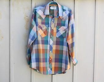 Vintage Buffalo Plaid Shirt for Men - 80s Ruddock Shirt - Green Gingham Shirt - Checkered Shirt - Tartan Western Shirt - Rodeo Cowboy Shirt