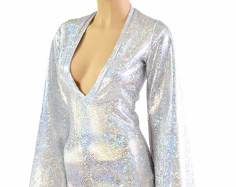 Silver on White Shattered Glass Plunging V Neckline Romper with Bell Sleeves Rave Festival Onsie 154220