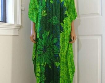 Hawaiian Palm Caftan Green Fan Pleated Hippie Bohemian
