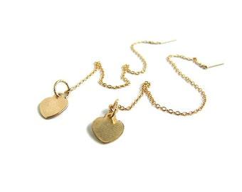 Threader earring Dangle threader Girlfriend long earring Gold heart earring Minimalist chain earring Extra long threader earring for wife