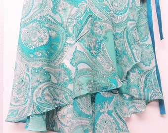 Turquoise and white ballet wrap skirt - Long