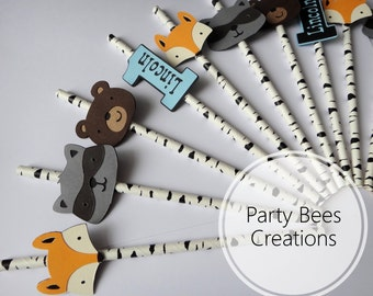 Personalised Forest woodland friends animals fox bear and raccoon personalised paper straws