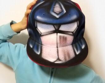 TRANSFORMER Optimus PRIME kid Snapback Hat |AUTOBOT Baseball Cap |Best Personalised gift with Graffiti name for kid |Boy & girl airbrush hat