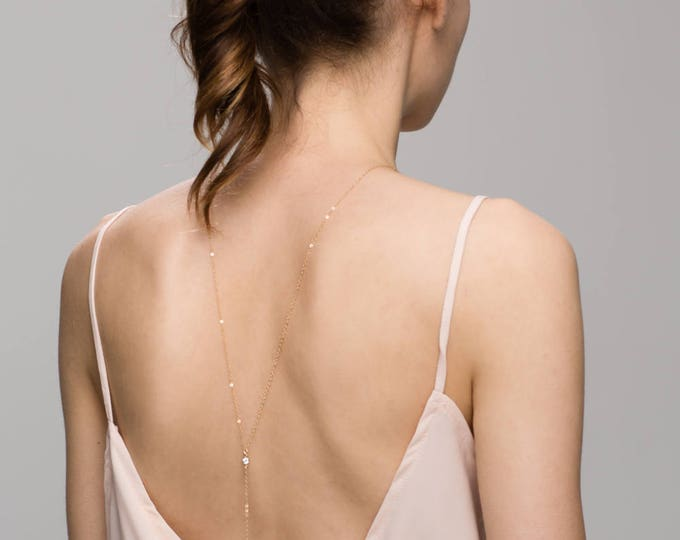 Single CZ Back Necklace / Bridal Jewelry / Lariat & Y Necklace // Wedding necklace  EL030