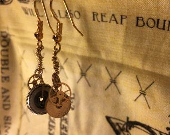 Watch gear jewelry, steampunk earrings, watch part earrings, Christmas gifts, gift for her