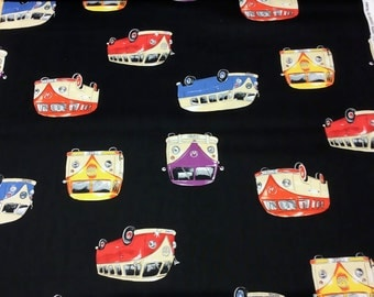 Patchwork Quilting Fabric Nutex On Tour VW Campervan on Black 87020
