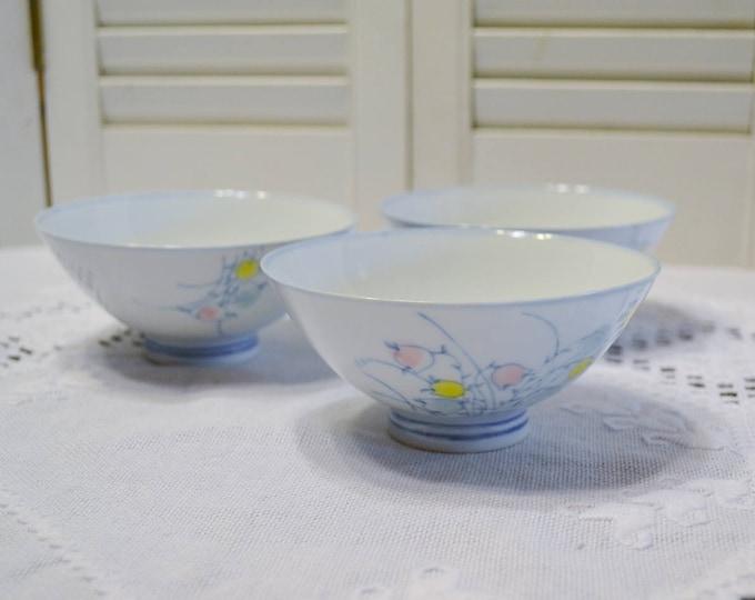 Vintage Rice Bowl Set of 3 Dipping Bowls Pastel Floral Tulip Design PanchosPorch