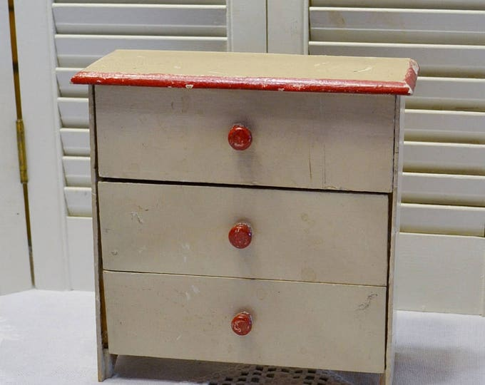 Vintage Wooden Dresser Doll Clothes Storage White Red Chippy Paint Rustic Primitive Decor PanchosPorch