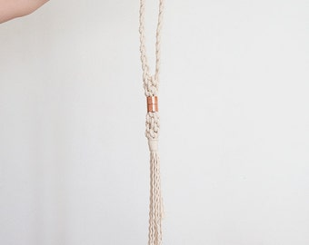 Chunky rope copper necklace, macrame necklace, statement necklace, woven necklace, natural necklace, natural macrame necklace, boho necklace