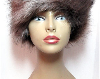 Russian Style Luxurious long pile Faux Fur Hats Silver Grey Color