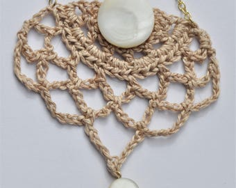 Mother of Pearl Crochet Necklace