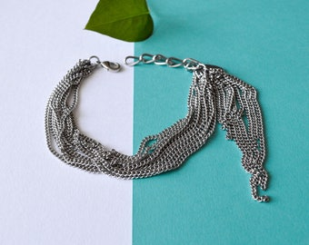 Chain Stainless Fringe Bracelet, Silver Stainless Steel, adjustable. Multiple Delicate Chain Bracelet. Fringe Silver Chains. Spike Charm