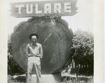 Vintage Photo..Tulare, California Sign, 1930's Original Found Photo, Vernacular Photography