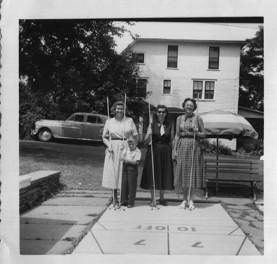 Vintage Photo..Shuffleboard in the Poconos, 1950's Original Found Photo, Vernacular Photography