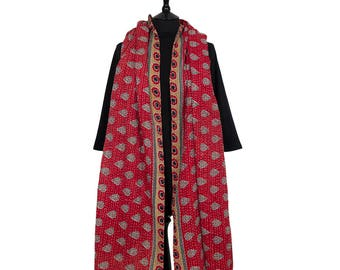 KANTHA SCARF / SHAWL - Red with Black motif. Reverse Ochre with Red Leaf - Unique, one of a kind