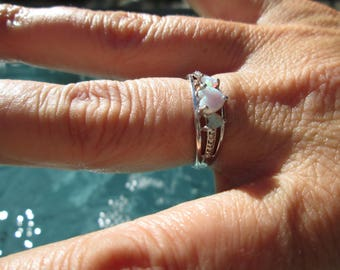 White Opal and Sterling Hearts Ring Size 7.25