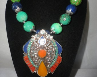 Flawless Silver Antiqued 213 Carats Corals And Tibetan Turquoise Necklace****