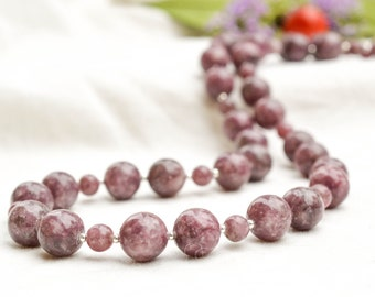 Natural lepidolite necklace with sterling silver *Free worldwide shipping*