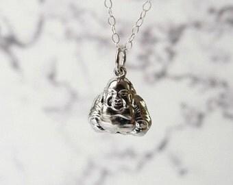 Buddha necklace, meditation charm, yoga teacher gift, happy pendant, sterling silver jewelry
