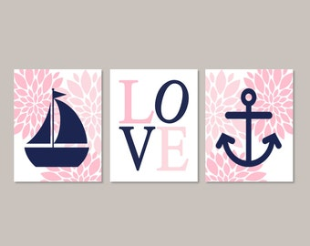 Nautical Nursery Wall Art Pink Navy Nursery Floral Nursery Flower Nursery Decor Girl Nursery Sailboat Anchor Love Set of 3 Prints Or Canvas