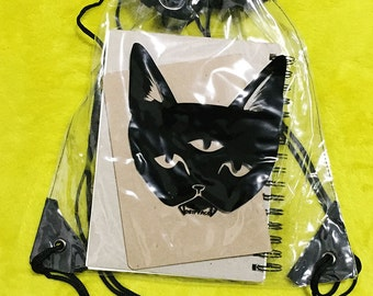 Sale - THREE EYED CAT back pack - clear bag