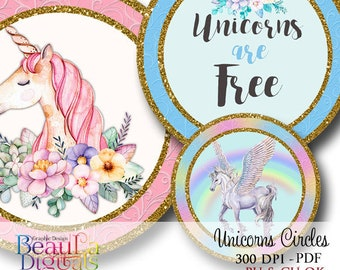 Cupcake Circles Unicorns, Unicorn Circles, Tags, Labels, Cupcake Toppers, Scrap book, Birthday Labels, Card makers, Instant download