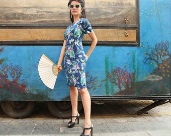 SALE-Retro Mid Length Blue Dress with Flower Short Sleeve Fitted with Pockets in Cotton Handmade Print