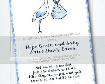 INVITATION Stork Delivery Baby Boy Printable Invitation
