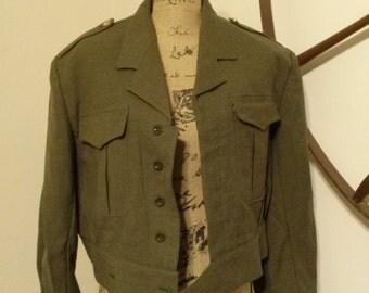 Amazing Vintage 'ABL Goujard Vandeplas' 1967 Short Army Wool Jacket